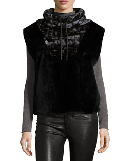Funnel-Collar Rabbit Fur Vest, Black