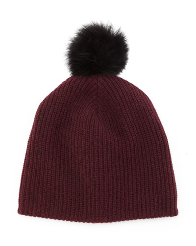Cynthia Knit Beanie with Shearling Fur Pompom