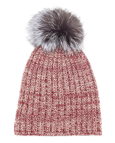 Heather Knit Beanie Hat w/Fur Pom Pom