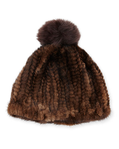 Knit Mink Hat w/Fox Pom-Pom, Brown