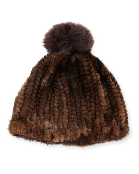 Knit Mink Hat w/Fox Pom-Pom, Brown