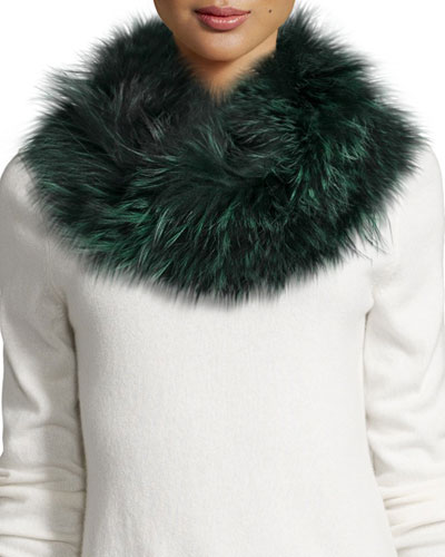 Draped Fox Fur Cowl Collar, Green