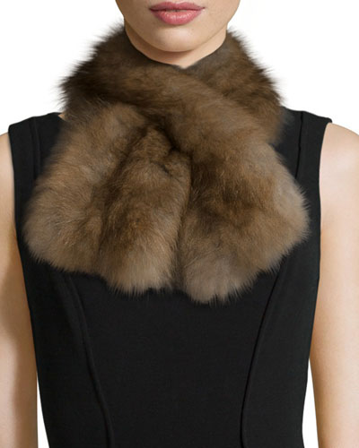 Fox Fur Pull-Through Scarf, Brown