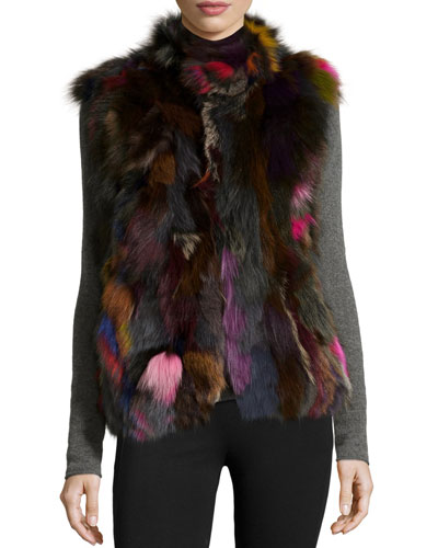 Multicolor Fox Fur Vest