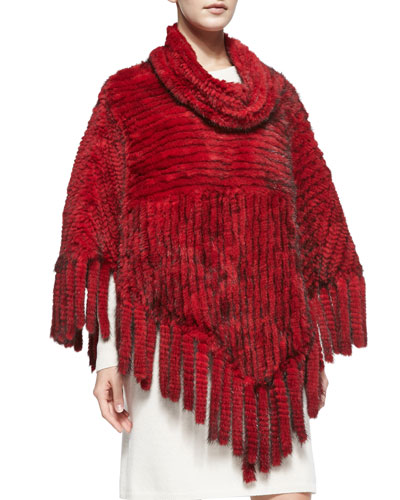 Knitted Mink Fur Fringe Poncho, Red