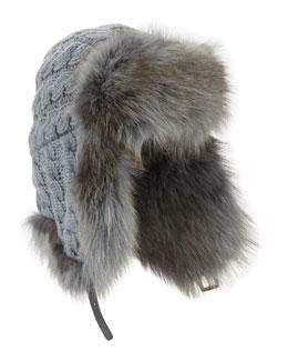 Cashmere Cable Trapper Hat w/Fur Trim