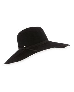 Large Brim Felt Hat, Black