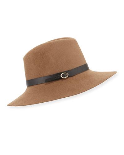 Leather-Strap Felt Fedora Hat