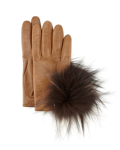 Leather Gloves with Fox Fur, Brown