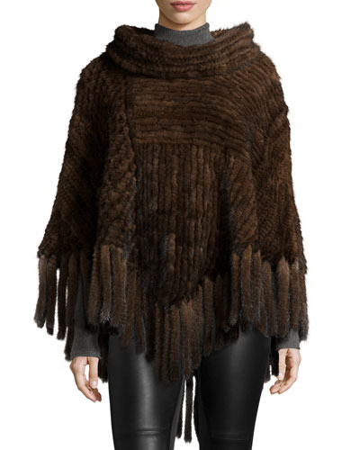Mink Fur Cowl-Neck Fringe Poncho, Brown