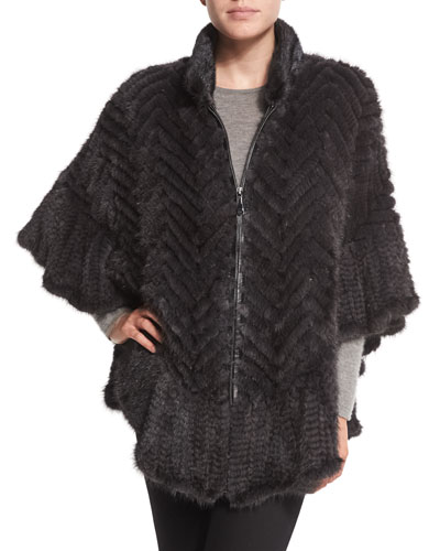 Chevron-Knit Mink Fur Cape