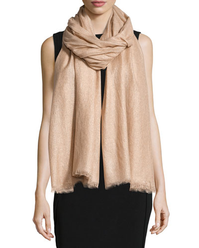 Cashmere-Blend Shimmer Scarf, Cameo
