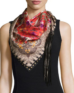 Ducale Printed Scarf w/Leather Fringe, Red