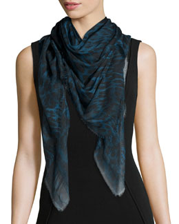 Animal-Print Voile Scarf, Teal