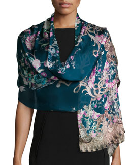 Ducale Printed Silk Shawl, Teal