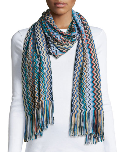 Knit Zigzag Scarf, Blue