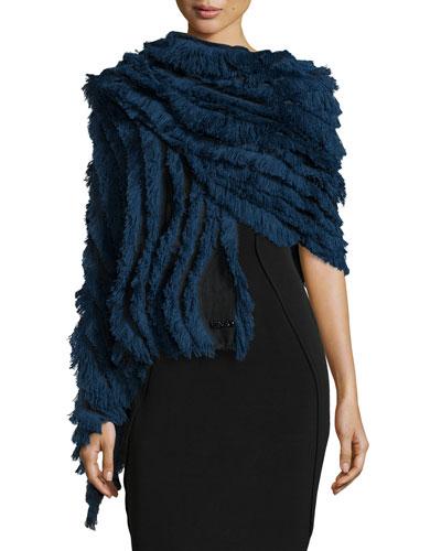 Micro Fringe Wrap, Blue