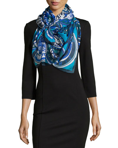 Medallions Woven Scarf, Blue