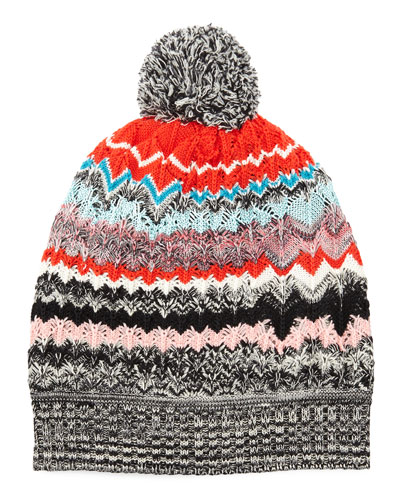 Zigzag Knit Beanie Hat, Black/Red