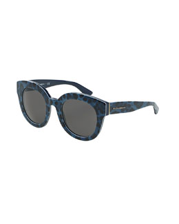 Rounded Leopard-Print Sunglasses, Blue