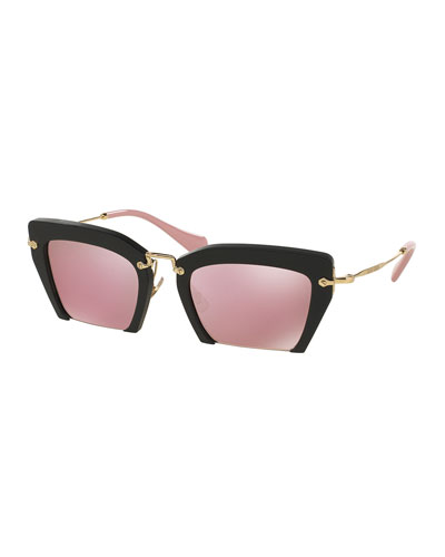 Cut-Off Cat-Eye Sunglasses, Pink/Black