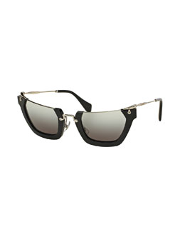 Squared Cut-Off Cat-Eye Sunglasses