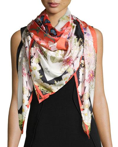 Chloris Floral-Print Square Silk Scarf, Red