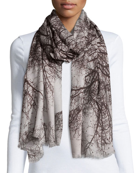 St. Piece Hamadryad Tree-Print Scarf, Gray Floral