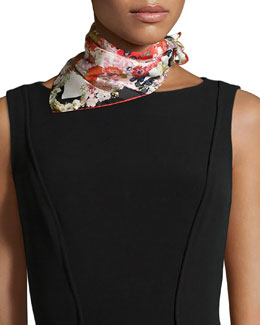 Chloris Floral-Print Square Scarf, Red