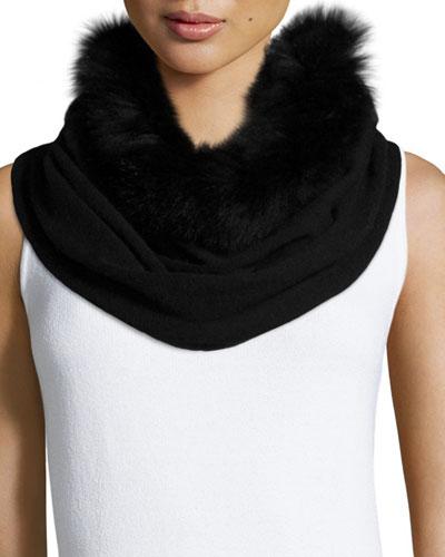 Fur-Trim Cashmere Snood