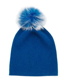 Cashmere Slouchy Hat w/Fur Pom Pom
