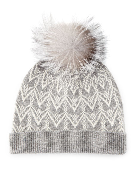 Cashmere Fair Isle Knit Hat with Fur Pom