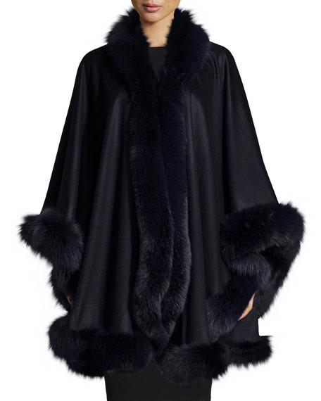Fox-Fur-Trim Cashmere Cape