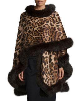 Leopard-Print Cashmere Fur-Trim Cape, Gray
