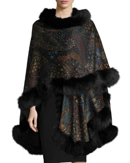 Fox-Fur-Trim Paisley-Print Cashmere Cape, Teal