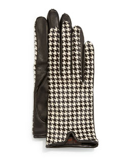 Houndstooth-Print Calf Hair & Leather Gloves