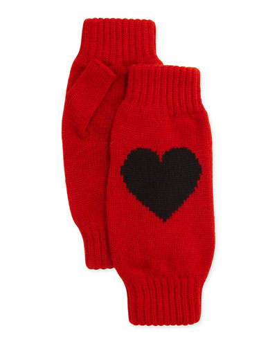 Cashmere Heart Fingerless Gloves, Red/Black