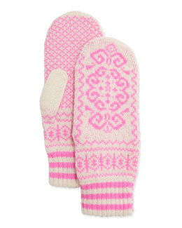 Cashmere Printed Mittens, Ivory/Pink