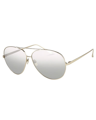 Mirrored Aviator Sunglasses, White Metal