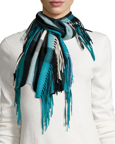 The Fringe Cashmere Half Mega-Check Scarf, Teal