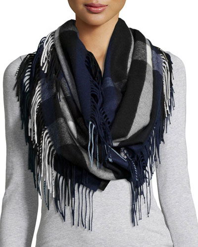 The Fringe Cashmere Half Mega Check Scarf, Blue