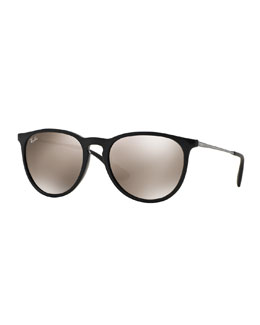Erika Mirrored-Lens Metal-Temple Sunglasses