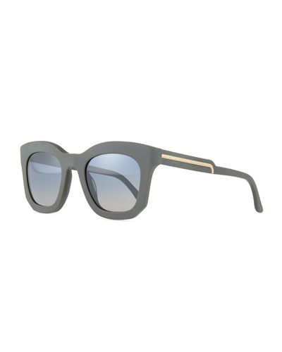 Oversized Notched-Arm Square Sunglasses