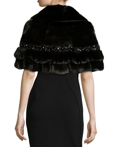Short Fur Cape w/Beading, Black
