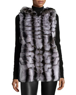 Hooded Rabbit Fur Vest, Dark Gray