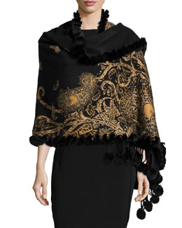 Cashmere Paisley-Print Fur-Trim Reversible Shawl, Black/Gold