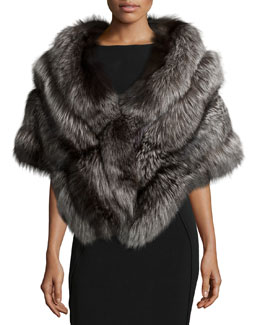 Fox Fur Stole w/Leather, Silver