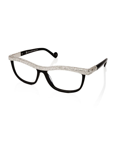 Kiki on a String Rhinestone Optical Frames, Black