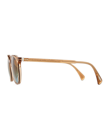 Delray Round Sunglasses, Clear Brown