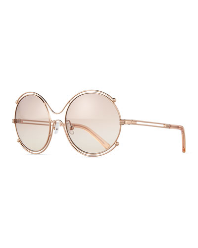Isadora Wire-Rimmed Sunglasses, Rose Gold